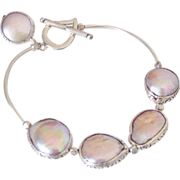 Large Cultured Freshwater Pearl Bangle Bracelet by Pilula Jula 'Silver Spoon II'
