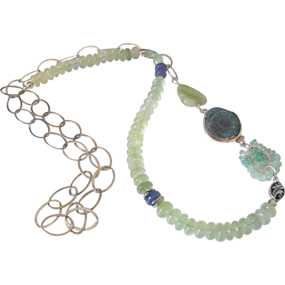 Prehnite Tanzanite & Emerald Body Necklace by Pilula Jula 'Surrender & Certainty