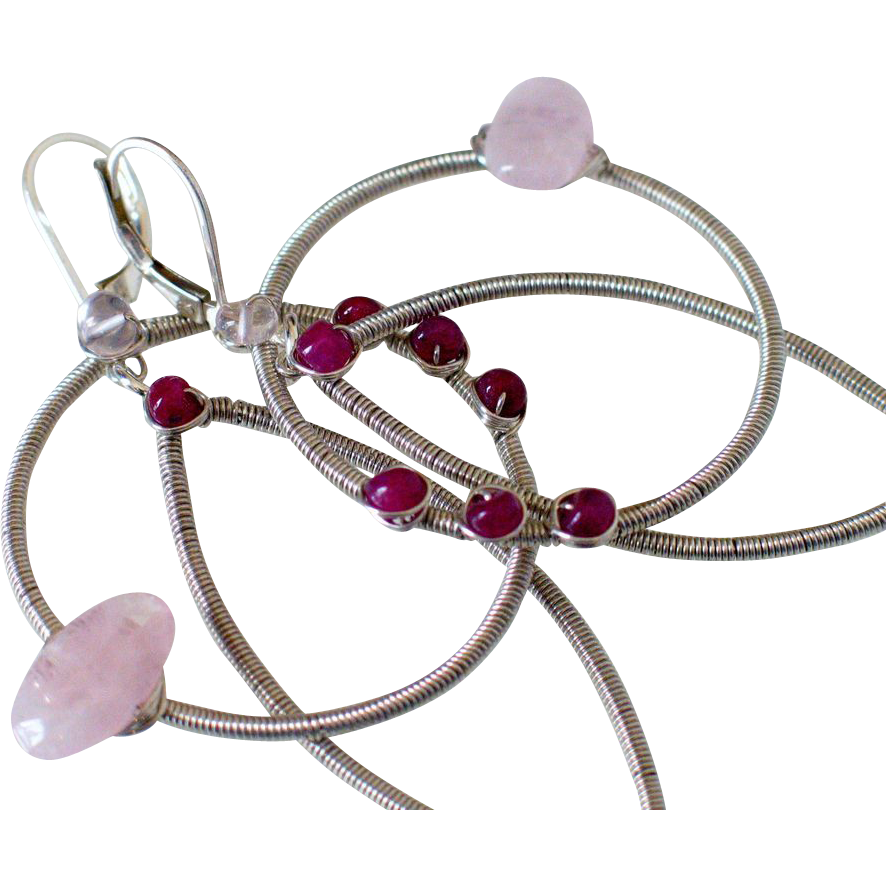 Ruby & Morganite Original Medallion Earrings by Pilula Jula 'Demolition Love II'