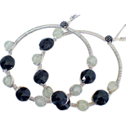 Prehnite & Spinel Hoop Earrings by Pilula Jula 'Final Masquerade'