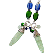 Kyanite & Chrome Diopside Wire Wrapped Earrings by Pilula Jula 'Local Girl'