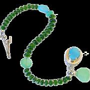 Sleeping Beauty Turquoise Chrome Diopside & Chrysoprase Bracelet by Pilula Jula 'Solid Ground II'