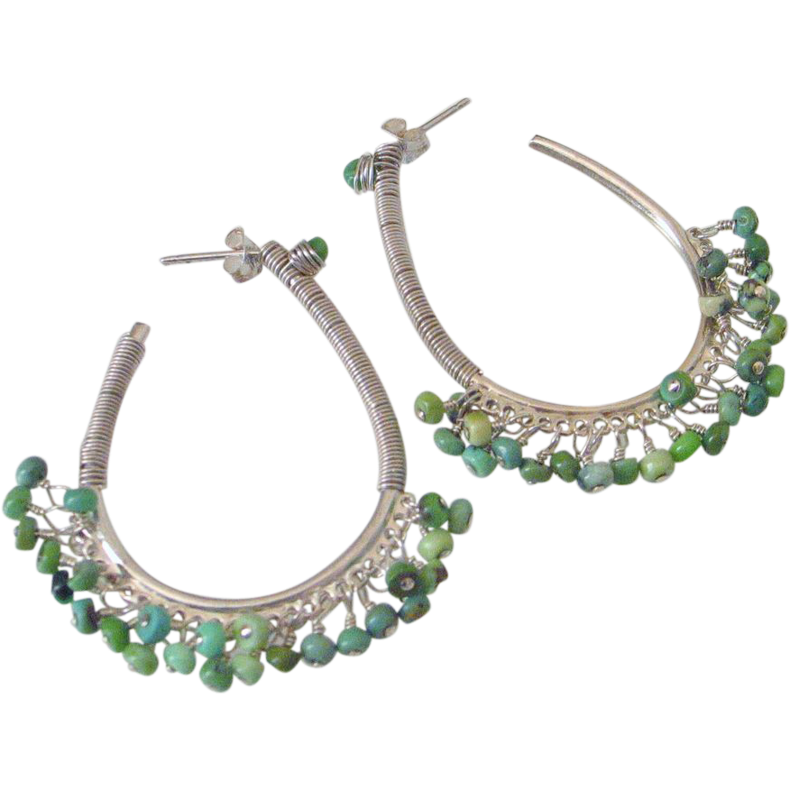 Turquoise Wire Wrapped Oblong Hoop Earrings by Pilula Jula 'Leaves Lullaby'