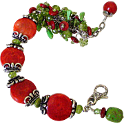 Coral Gaspeite & Peridot Cluster Cuff Bracelet by Pilula Jula 'Sweet Resistance I'
