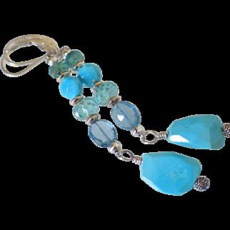 Gem Sleeping Beauty. Emerald. Apatite & London Blue Topaz Earrings by Pilula Jula 'Moon Beams'