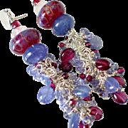 Tanzanite Garnet & Boro Tassel Earrings by Pilula Jula 'Wizards'