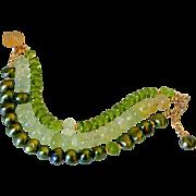 Triple Strand Green &  Gold Fill Gemstone Bracelet by Pilula Jula 'People Keep Talkin'