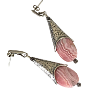 Rhodochrosite Contemporary Earrings by Pilula Jula 'Sweet Forgiveness'