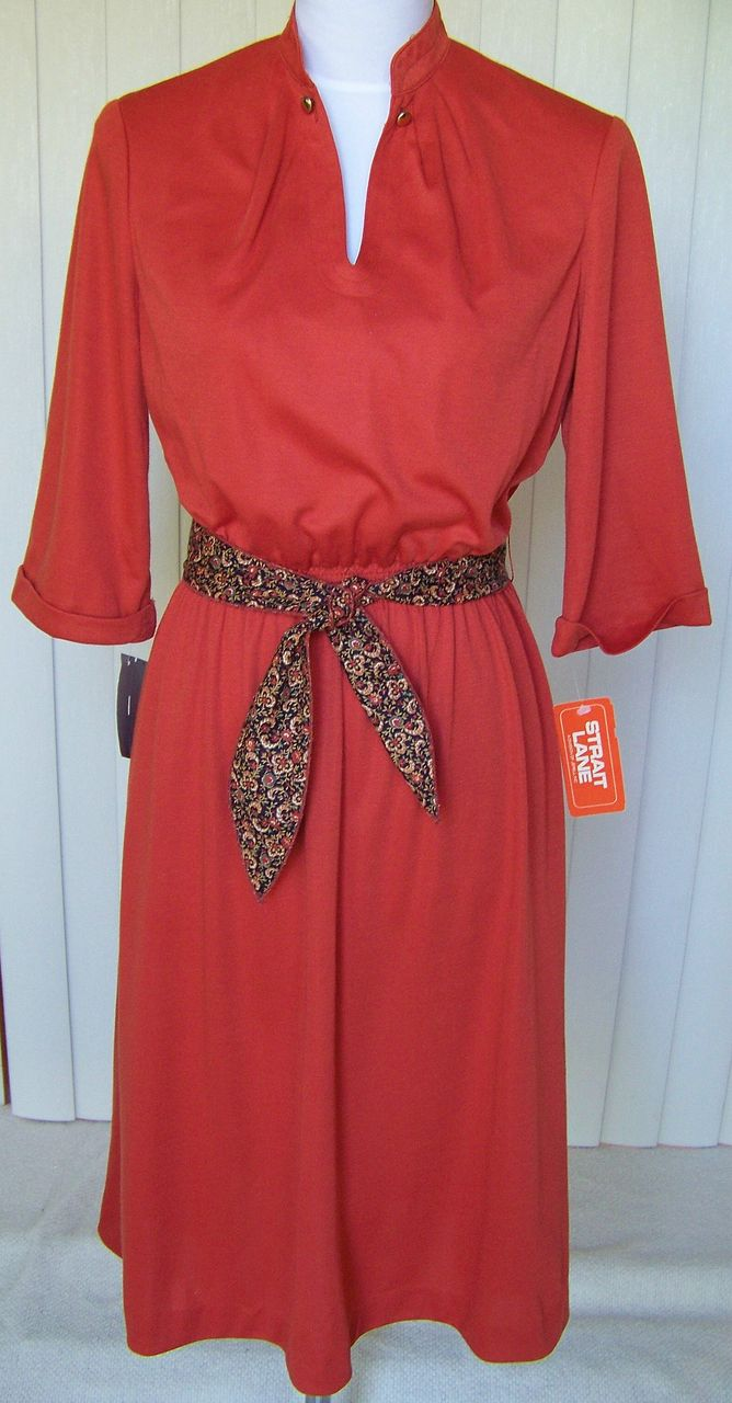 1970s  Office Dress Burnt Orange - New with Tags - Jerrell