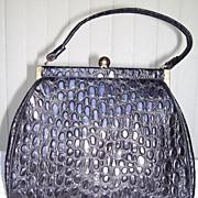 1950s Black Faux Reptile Purse / Handbag - Flechbilt Handbags