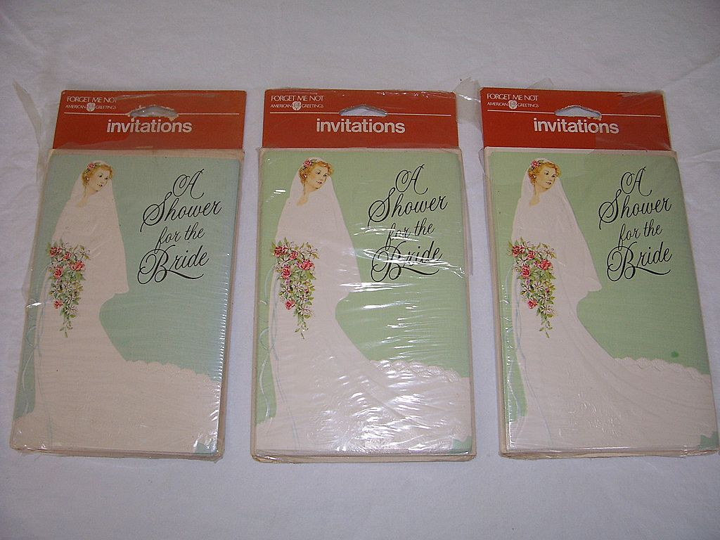 1970s vintage bridal shower invitations sold on ruby lane for Classic bridal shower invitations