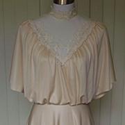1970s Vintage Ivory & Lace Dress