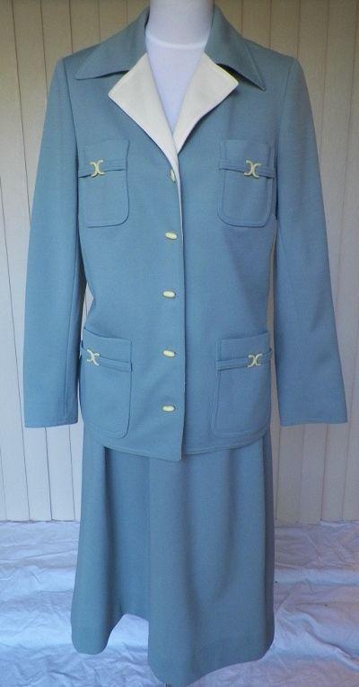 1960s / 1970s  Dusty Blue Jacket & Skirt - Butte Knit