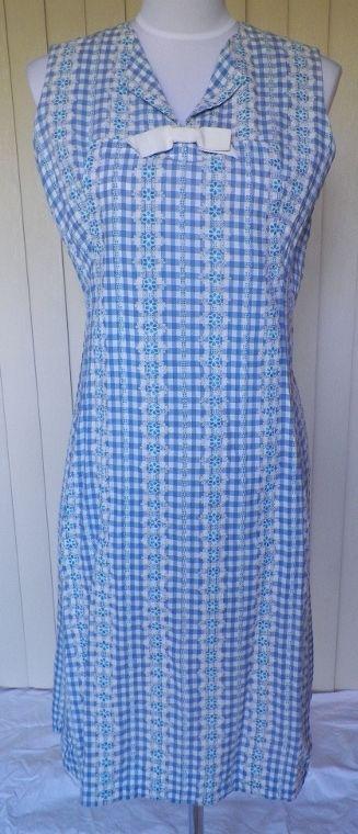 1960s Blue & White Checked Cotton House Dress