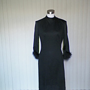 1950s Little Black Cocktail Wiggle Dress Feather Cuffs
