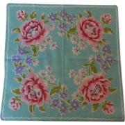 1950s / 1960s Vintage Pink and Green Floral Hanky - Red Tag Sale Item