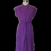 1970s Vintage Purple Terry Cloth Dress
