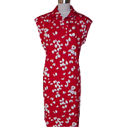 1970s Vintage Red Dress with White Butterfly Design