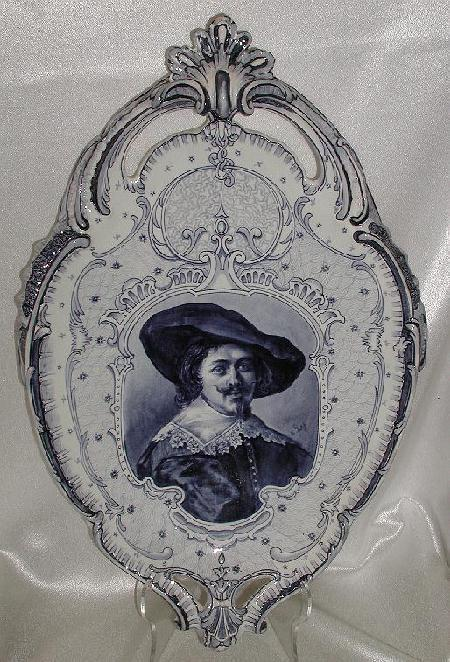 Royal Bonn Franz Anton Mehlem Delft Wall Hanging Dutch Franz Hals Portrait Plaque Blue & White 20""