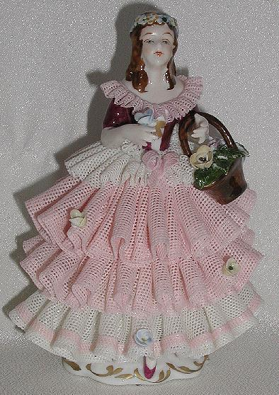 Martha Budich Kronach Germany Karl Klette Pink & White Dipped Lace Porcelain Victorian Woman Girl Floral Bouquet Basket Applied Flowers