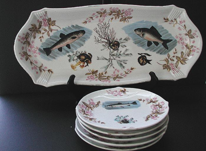 Antique Marx & Gutherz Carlsbad Bohemia Austria 6 Pc Fish Set Hand Painted Vividly Colored