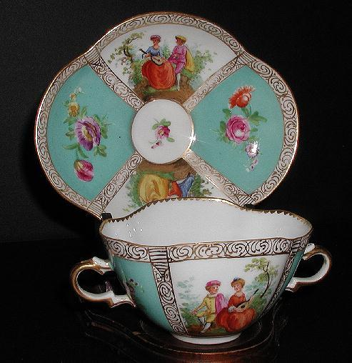 Dresden Germany Richard Klemm Two Handle Quatrefoil Cup & Saucer Victorian Courting Scenes Floral Medallions Turquoise Gold Trim