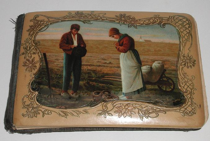 Early 1900s Celluloid Autograph Book The Angelus Call To Prayer Scene Many Personal Poems