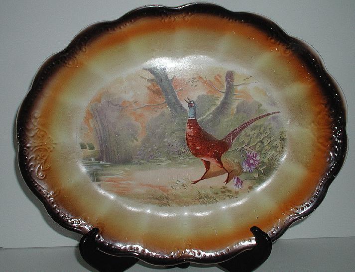Vintage American Limoges Sebring Ohio U. S. A. Game Bird Oval Platter Embossing