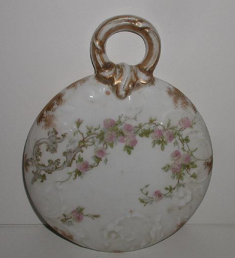 Stunning & Uncommon Hand Painted Porcelain Victorian Pink Rose Vanity Mirror Floral Embossing Brushed Gold Porcelain Handle