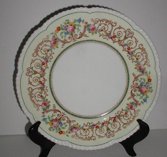 "Cauldon England Floral Dinner Plate Scrolls Pale Yellow Rim Beaded Scalloped V8087 Pattern 10.75"""