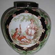 "Large 13.25"" 1800s Bulbous Bristol Glass Vase Victorian Courting Scene Hand Painted  Gold Outlined Green Floral"