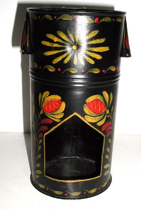 Highly Unusual Vintage Tole Toleware Floral  Hand Painted Candle Lantern