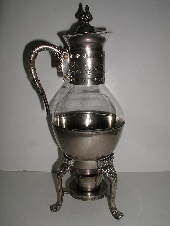 Ornate Silverplate & Glass Footed Coffee Carafe & Warmer