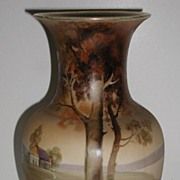 """Exceptional Hand Painted Nippon Vase Country House Scene Trees Bushes Pink & Yellow Roses 10"""""""
