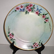 Jaeger & Co. Bavaria Germany Bluebird Plate Wild Pink Roses Thorns Artist Signed