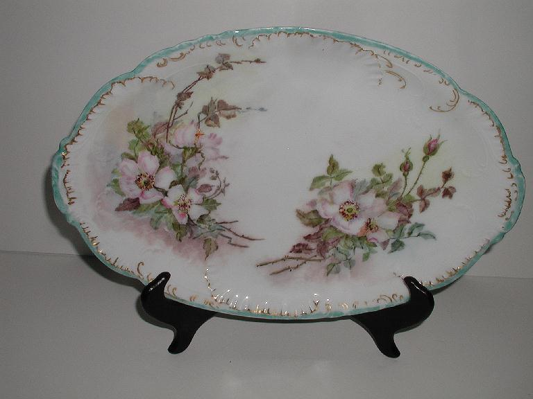 Absolutely Exquisite Haviland Limoges France  Oval Platter  Hand Painted Wild Pink Roses Buds Thorns Embossing Gold Turquoise Blue Rim