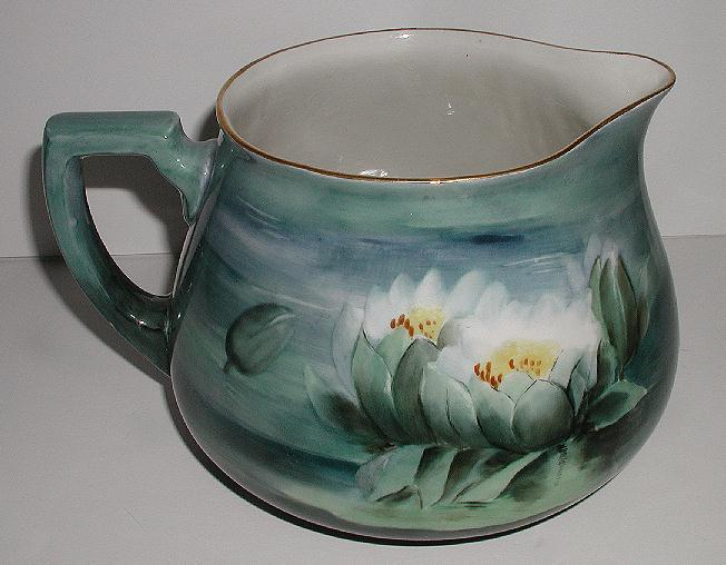 Vivid Hand Painted Water Lily Lilies Porcelain Cider Pitcher Green Blue Gold Rim