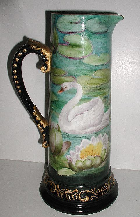 Stunning Extremely Uncommon Delinieres & Co, D & C French Limoges Hand Painted Swan Tankard Water & Water Lilies