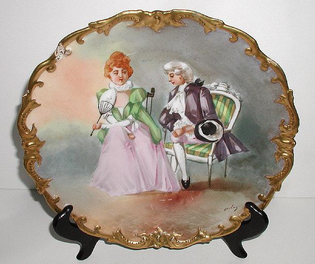 Exquisite Coronet Limoges Artist Signed Dubois Charger Plaque Plate Victorian Courting Scene Gold Encrusted Rim