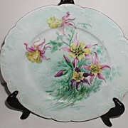 "Lovely Artist Signed Haviland Limoges France 9.75"" Plate Purple Pink Yellow Hand Painted Columbine Flowers Powder Blue Background."