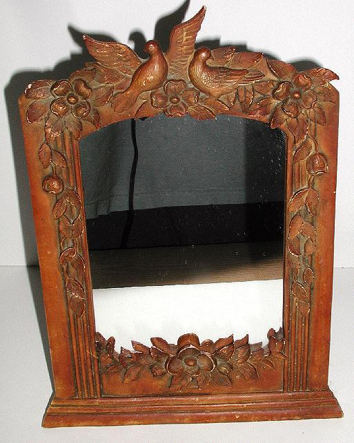Astounding Vintage Intricately Carved Victorian Wood Picture Frame Doves Love Birds Flowers Leaves