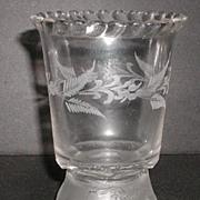 1875 EAPG Gillinder & Sons Spooner Frosted Lion Pattern Cabling Floral Etching