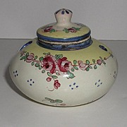 Exquisite Signed Marseille France Hand Painted Floral Porcelain Inkwell With Liner