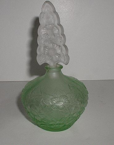 Absolutely Stunning Green & Clear Satin Glass Perfume Bottle Embossed Floral