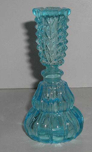 Spectacular Vintage Sky Blue Perfume Bottle Fluted Sides Deeply Cut Stopper Floral Sides