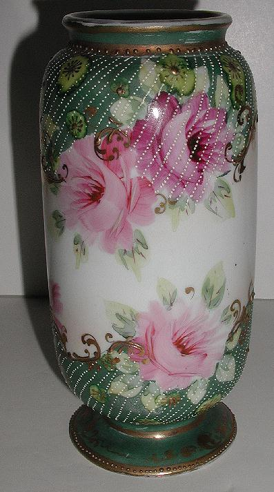 Stunning Unmarked Hand Painted Pink Rose Pedestal  Vase Gold Scrolling Ample Diagonal White Beading