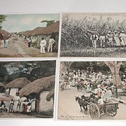 Vintage Early 1900s Lot of seven Black Native Postcards 5 Jamaica 1 Barbados 1 Puerto Rico Black Memorabilia