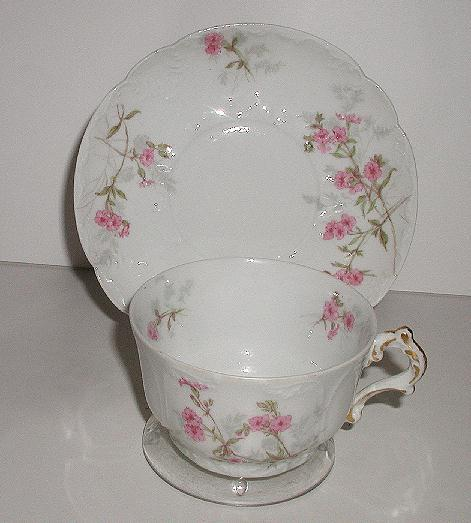 Stunning Gerard Dufraisseix & Abbot  GDA French Limoges Pink Floral Cup & Saucer Heavily Embossed Saucer Scalloped