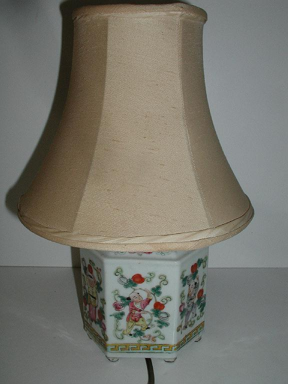 Outstanding Six Sided Chinese Tea Caddy Converted  Lamp Colorful Different Scenes