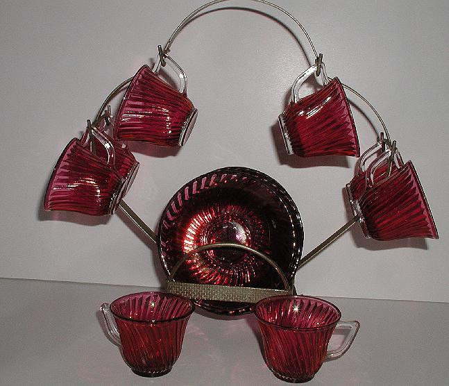 Vintage Federal Glass Diana Swirl Pattern 17 Pc Cranberry Ruby Red Flash Demitasse Cup & Saucer Set & Brass Display Holder